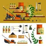 Иллюстрация садовничая инструментов квартира значка вектора установленная Стоковое фото RF