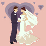 Иллюстрация свадьбы в плоском стиле Стоковая Фотография RF