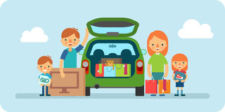 Иллюстрация семьи ходя по магазинам плоская Стоковые Изображения