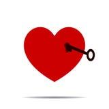 Иллюстрация сердца и ключа для дизайна Стоковое Изображение RF