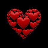 иллюстрация сердца 3D на изолированной черноте - Стоковые Изображения