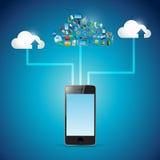 Иллюстрация сети значка облака телефона вычисляя Стоковая Фотография RF