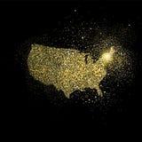 Иллюстрация символа концепции искусства яркого блеска золота США Стоковые Фото