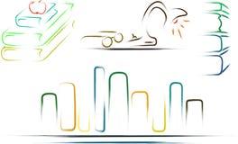 иллюстрация символов библиотеки Стоковое Изображение