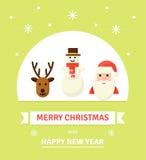 Иллюстрация символов рождества Карточка вектора в плоском стиле Стоковое Изображение