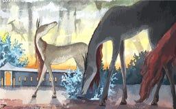 Иллюстрация сказки акварели животная, вектор Стоковая Фотография RF