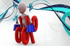 иллюстрация скидки покупок человека 3d Стоковая Фотография RF