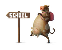 Иллюстрация смешной характер коровы при рюкзак идя к школе Стоковое Изображение