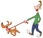 Собака человека гуляя Стоковые Фото
