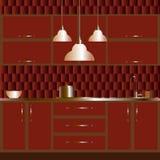 Иллюстрация современного дизайна интерьера кухни Стоковые Изображения RF