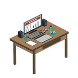 Иллюстрация современного творческого рабочего места офиса, рабочего места с Стоковые Фотографии RF
