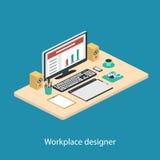 Иллюстрация современного творческого рабочего места офиса Стоковые Фотографии RF