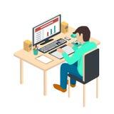 Иллюстрация современного творческого рабочего места офиса Стоковое Изображение RF