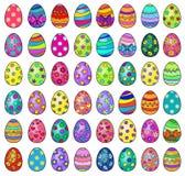 Иллюстрация сорок восемь пасхальных яя на белой предпосылке Стоковое Фото