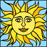 Иллюстрация солнца с усмехаясь стороной также вектор иллюстрации притяжки corel Стоковое Изображение RF
