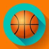 Иллюстрация спорта значка баскетбола вектора плоская Стоковые Изображения
