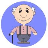 Иллюстрация старого деда с тросточкой Стоковое фото RF