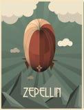 иллюстрация стиля Арт Деко Зеппелина Стоковая Фотография RF