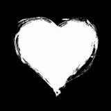 Иллюстрация стиля вектора нарисованная рукой Roughed белое сердце Стоковые Изображения