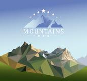 Иллюстрация стиля горы низко-поли иллюстрация штока