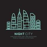 Иллюстрация стиля значка вектора умного современного города, нового района Eco, концепции городка небоскреба, неонового света ноч Стоковое фото RF