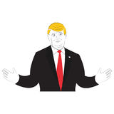 Иллюстрация стиля шаржа президента Дональд Трамп Стоковые Изображения RF