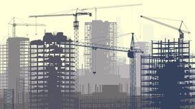 Иллюстрация строительной площадки с кранами и зданием.