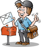 Иллюстрация счастливого почтальона Стоковые Фотографии RF