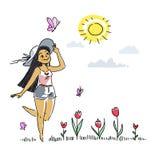 Иллюстрация счастливого солнечного света девушки весной с цветками Стоковое фото RF