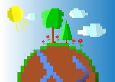 Иллюстрация счастливой земли, солнечный день Стоковое Фото