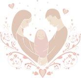 Иллюстрация счастливые семьи в форме Стоковые Изображения