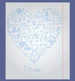 Иллюстрация с бумагой тетради с значками на теме математики аранжирована в форме сердца Стоковое Фото