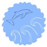 Иллюстрация сделанного эскиз к скача дельфина Стоковая Фотография RF