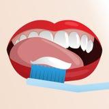 Иллюстрация с зубами и зубной щеткой woth рта чистыми иллюстрация штока
