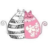 Иллюстрация с котами в влюбленности Стоковое фото RF
