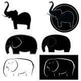 Иллюстрация слонов в различных стилях Стоковое Изображение RF
