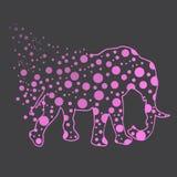иллюстрация Слон с точками польки эскиз Стоковая Фотография RF