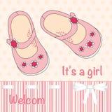 Иллюстрация с розовыми ботинками для маленьких девочек Стоковое Изображение RF