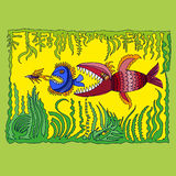 Иллюстрация с рыбами Стоковая Фотография RF