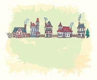 Иллюстрация с старой европейской улицей Стоковое фото RF