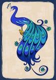 Иллюстрация с стилизованным орнаментальным павлином Стоковые Изображения