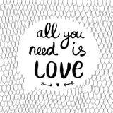 Иллюстрация с текстом все вектора вам влюбленность Стоковое Изображение