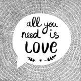 Иллюстрация с текстом все вектора вам влюбленность Стоковое Изображение RF