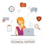 Иллюстрация службы технической поддержки плоская Человек и значки Стоковые Фото