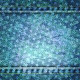 Иллюстрация текстуры голубых джинсов вектора с звездами Стоковое Фото