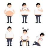 Иллюстрация тучного человека с различными заболеваниями бесплатная иллюстрация