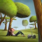 Иллюстрация лужайки молодого битника segway солнечная зеленая Стоковые Изображения