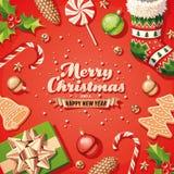 иллюстрация украшений рождества карточки предпосылки Стоковые Изображения RF