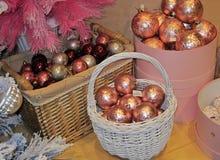 иллюстрация украшения рождества шариков предпосылки Стоковые Изображения