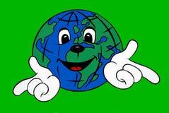 Иллюстрация усмехаясь счастливого мира глобуса Стоковое Изображение RF